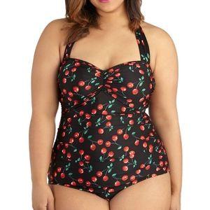 Retro Cherry Halter one piece suit size 4X
